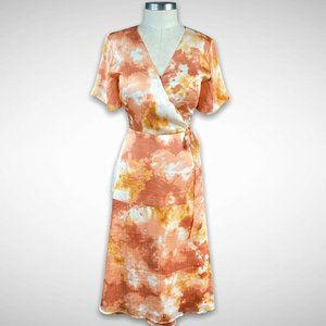 Ann Taylor Tie Dye Faux Wrap Midi Dress Size 4